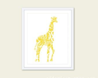 Giraffe Art Print - Yellow Giraffe Floral Pattern Wall Art - Baby Nursery Decor - African Animal Nursery Decor - 8x10