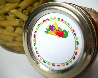 Fun Veggies canning jar labels, 2 inch round mason jar labels, cute vegetable preservation canning labels