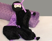 Small Baby Blanket, Purple Ninja Security Blanket, Lovey, Stuffed Animal, Baby Toy, Plush Kids Toy