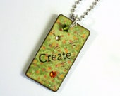 Lime Green Decoupaged Keychain Rectangle Wood Key Chain Swarovski Crystal Embellished Stocking Stuffer Gift  for Her Under 10
