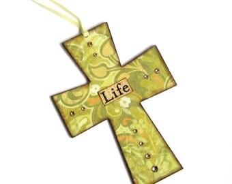 Small Easter Cross Light Green Decoupaged Wall Cross Crucifix Catholic Christian Art Mixed Media Easter Christening Gift Religious Baby Gift