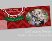 Red Chevron Christmas Timeline Cover Template