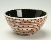 Black, White, Brown Wonderful Bowl Spiral and Dots Hand Painted Multicolorful Dinnerware