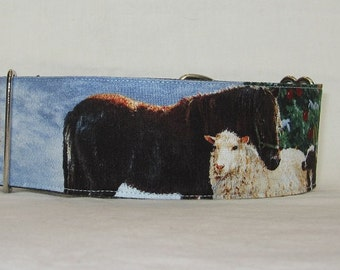 SALE Holiday Farm Martingale Dog Collar - 2 Inch - winter horse sheep tree carrots Christmas donkey fun barn ranch livestock