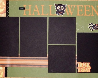 Halloween Scrapbook Pages, Premade Halloween Scrapbook Album Pages, 12 x 12 Halloween Scrapbook Pages, Halloween 2 Page Layouts