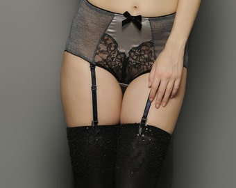 Black SEQUINS embroidery Opaque Thigh High stockings - Halloween costume