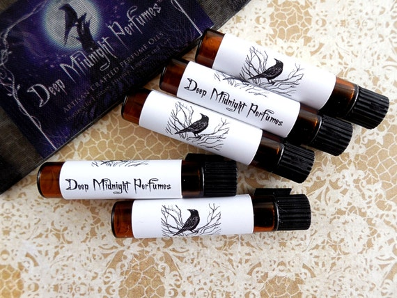 Perfume SAMPLE Set of 5 Vials: Your Choice of 5 Samples by Deep Midnight Perfumes