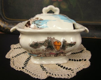 Vintage Soup, Gravy or Sauce Tureen, Hand Painted Brown Transferware, Castle, Lake and Trees