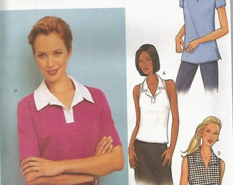 Misses Pullover Summer Tops Collar and Sleeve Variations Four Styles Butterick 3386 Uncut FF Sizes 12, 14, 16 Bust 34-36-38 Sewing Pattern