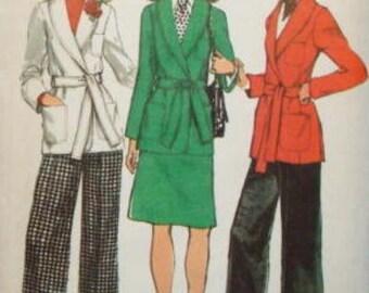 1970s Mega Flares Princess Seam Front Wrap Jacket Shawl Collar Skirt Simplicity 5197 Uncut FF Size 14 Bust 36 Women's Vintage Sewing Pattern