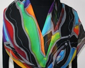 Silk Scarf Hand Painted Chiffon Silk Shawl  Green Red Black Silk Scarf DREAM RIDER Extra Long 11x90 Birthday Gift Scarf Gift-Wrapped Scarf