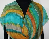 Green Silk Scarf. Teal Hand Painted Scarf. Handmade Chiffon Shawl  MOUNTAIN SUNRISE. Birthday Gift. Gift-Wrapped. Offered in Several SIZES