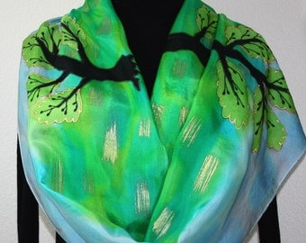 Green Silk Scarf. Hand Painted Silk Shawl. Sky Blue Gold Hand Dyed Silk Scarf. FOREST LANDSCAPE Large 14x72 Birthday Gift Scarf Gift-Wrapped
