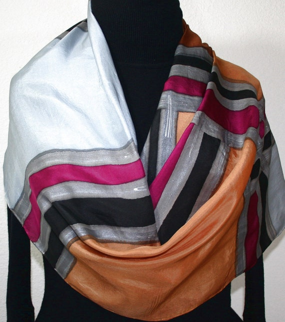 Silk Scarf Hand Painted, Silk Shawl Grey Brown, Hand Dyed Silk Scarf SILVER ELEGANCE, Extra Large 22x72, Bridesmaid Gift, Free Gift-Wrapping