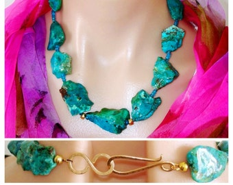 Necklace Ashira Stunning Natural Rare Parrot Blue Chrysocolla Nuggets Apatite Handmade Hammered Gold Hook Closure