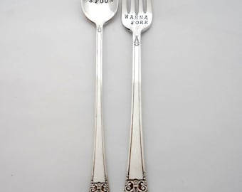 Wanna Spoon Wanna Fork™ The ORIGINAL Design of Sycamore Hill, Hand Stamped Vintage Silverware. Flatware. Sarcastic Wording. Inuendo. Spoons.