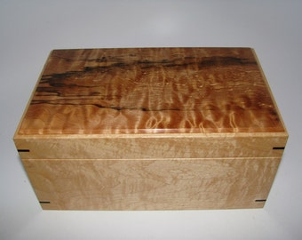 "Keepsake Box in Spalted Maple and Figured Maple. 9.5"" x 5.75"" x 4.5"""