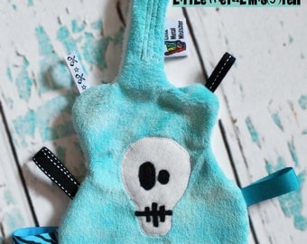 GuiTag - Guitar Shape Skull Blanket / Lovey turquoise teal blue Punk Rocker / Music / Metal Theme for teething babies, infants and toddlers