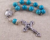 handmade Catholic pocket rosary tenner with turquoise blue riverstone and silver