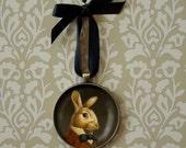 Rabbit Ornament - Christmas Ornament - Rabbit Portrait Ornament - White Rabbit - Portrait Miniature - Victorian - March Hare