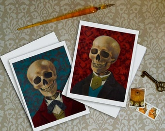 Skeleton Note Cards - Skull Cards - Victorian - Gothic - Steampunk