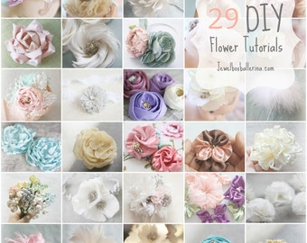 Fabric Flower Tutorials, Feather Flower Tutorials, Paper Flower Tutorial, Sewing Patterns, Flower Sewing Patterns, PDF Patterns & Tutorials