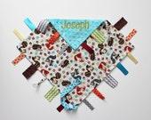 PERSONALIZED Ribbon Tag Blanket - Woodland Animals - Turquoise Minky