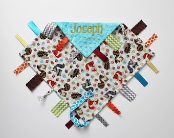 PERSONALIZED Ribbon Tag Blanket - Woodland Animals - Turquoise Minky