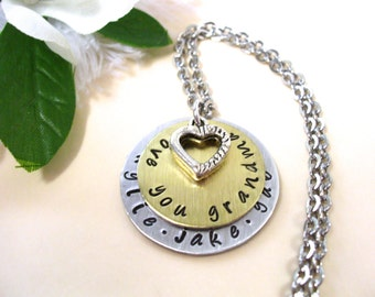 Grandma Jewelry, Grandma Necklace, Personalized Jewelry, Hand Stamped Jewelry, Jewelry for Grandma, Love You Grandma
