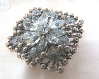 Vintage Navette Rhinestones & Silvertone Beads Brooch, Wedding, Anniversary Gift for Her, High Fashion Vintage Jewelry