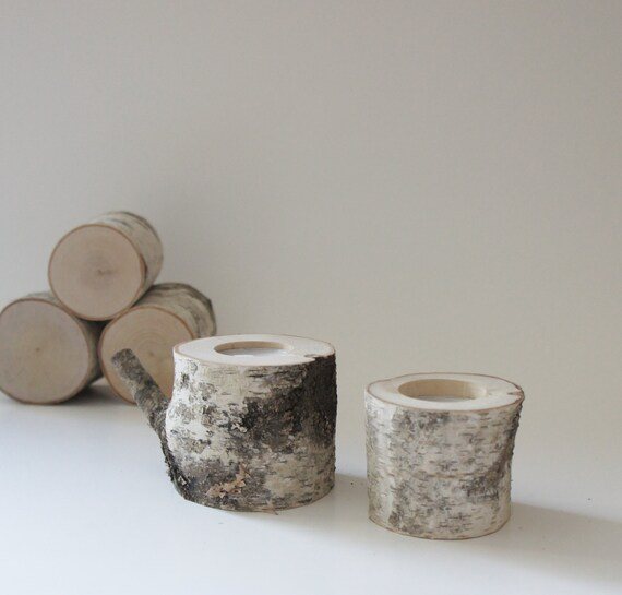 Sale Natural White Birch Wood Candle Holders Set Of 2 Log