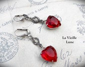 Ruby Valentine Heart Earrings, Victorian Earrings, Victorian Jewelry, Red Glass Jewel Earrings, Valentine Jewelry