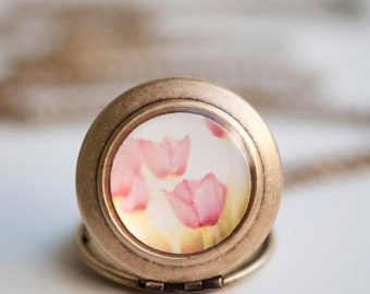 Spring Fashion Necklace, Pink Tulips, Mothers Day, Spring Florals, Small Locket, Photography locket