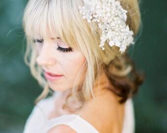 Pearl Comb,Wedding Headpiece,Wedding Hair Piece,Bridal Headpiece,Crystal Headpiece,Jewelled Wedding Hairpiece,Pearls Headpiece-CLEMENTINE