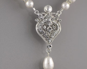 Pearl Bridal Necklace, Deco Bridal Jewelry, Crystal Pendant Wedding Necklace, Bridal Jewellery, LUCY