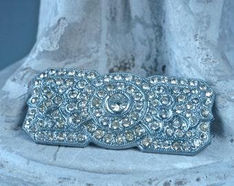 Czech Art Deco Brooch Sparkling 20's Pave Rhinestone Brooch
