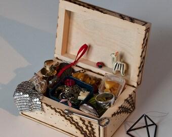 Beautiful burned jewelry box