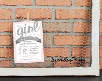 """Baby Shower Invitation - Baby Girl - DIY Baby Shower - Pink & Silver - Pink and Gray - Glitter - Customize - Printable -  Invitation -  5x7"""""""