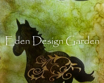 Ride filigree horse etched metal sign in green and brown