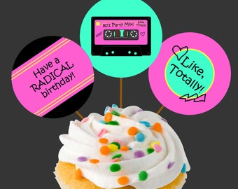 Instant Download 80s Party Mix Tape Cupcake Toppers or Craft Circles