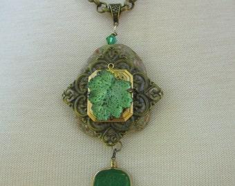 Ladies Assemblage Ornate Vintage Agate Antique Bronze Large Chain Necklace Steampunk Boho Fancy