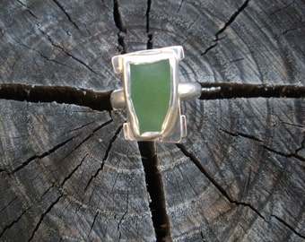 Maui Sea Glass Sterling Silver Ring.