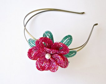 Beaded Flower Headband in red and green, French Beaded floral hair piece, women and teen girl fashion accessory