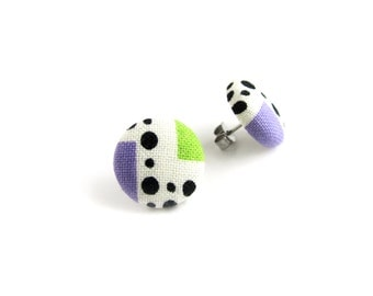 SALE Geometric button earrings - funky fabric earrings - tiny stud earrings - purple green black white