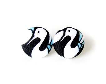 Bird button earrings - stork fabric earrings - black white stud earrings - cute animal earrings - tiny earrings