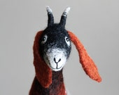 Sibella - Felt Goat. Felted Toy, Art Marionette, Puppet, Stuffed Animal. Felt Toy. Felted animal. brown orange black. MADE  TO ORDER.