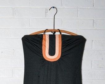 Vintage Maxi Womens Capelet Black Art Deco Print Summer Dress
