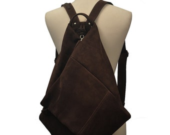 Handmade leather backpack made in nubuck  brown .Named Kalliope MADE TO ORDER