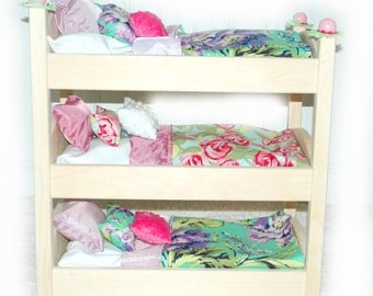 Triple Doll Bunk Bed - Lilac Garden American Made Girl Doll Bed - Fits AG Doll and 18 inch dolls