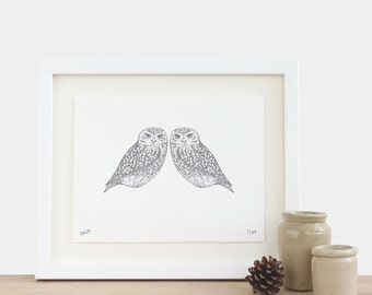Fine Feathers - limited edition A5 owl print black white birthday anniversary mothers fathers day Christmas gift idea
